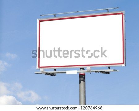 Blank white billboard on blue sky for your advertisement background