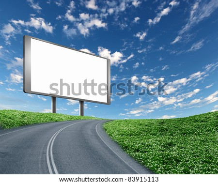 blank white billboard on the edge of country road - stock photo