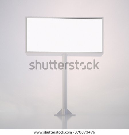 Blank white billboard with space for your advertisement against abstract background. 3d render - stock photo