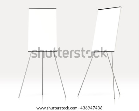 Blank white board for advertisement, isolated on white background.3d rendering. - stock photo