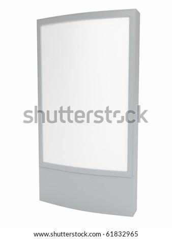 Blank white board for advertisement, isolated on white, 3d illustration