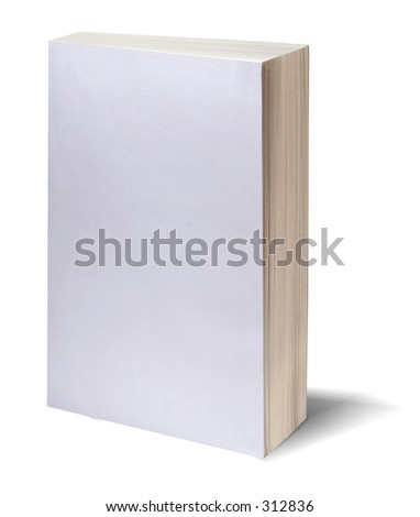 Blank white bookcover with clipping path - perfect to insert your own design - stock photo