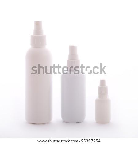 Blank white bottles - stock photo