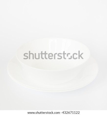 Blank white bowl and dish  on isolated white  background. - stock photo