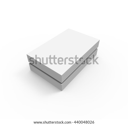 Blank White Box, Isolated on White Background. Mockup, 3D illustration