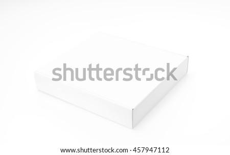 Blank white box mock up on white  background - stock photo