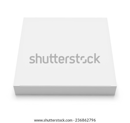 Blank white box top front view isolated on white background - stock photo