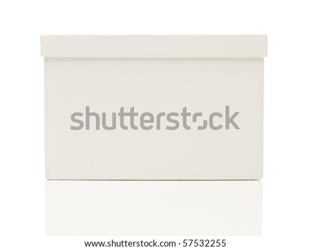Blank White Box with Lid Isolated on a White Background Ready for Your Own Message. - stock photo