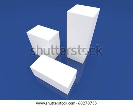 Blank white boxes - stock photo