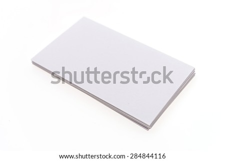 Blank white card isolated on white background