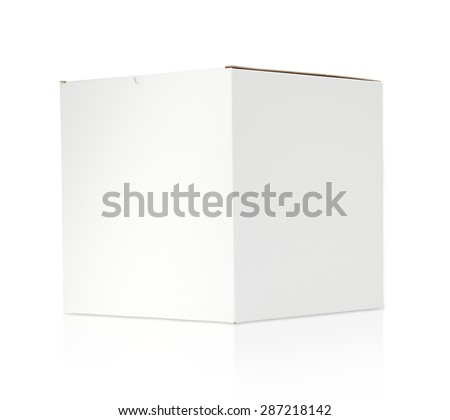Blank white cardboard box on white back ground with clipping path