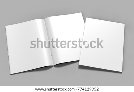 Blank white catalog, magazines, book mock up on grey  background. 3d render illustration.