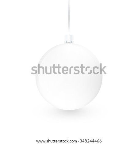 Blank white christmas ball toy isolated. Empty xmas sphere mock up design presentation. New year decoration mockup from fir-tree ready for your logo, art, texture or ornament concept. Clear bauble.. - stock photo