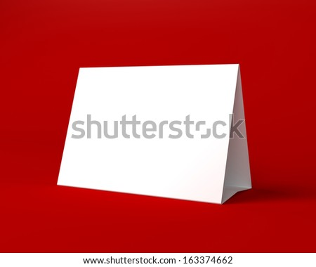 Blank White Christmas Greeting Card on the Red Background