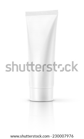 Blank white cosmetic tube isolated on white background - stock photo