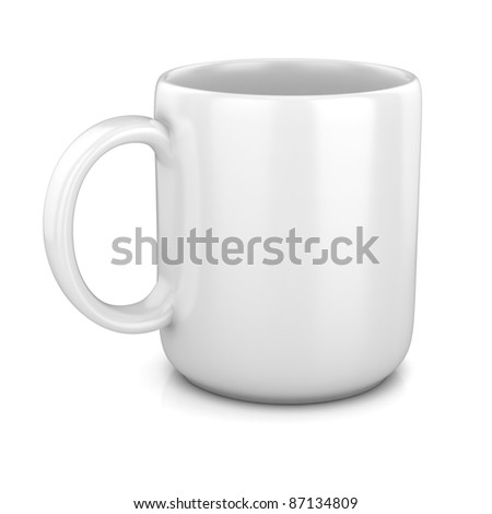 blank white cup - stock photo