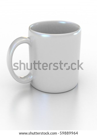 blank white cup on the white background suitable for placing logo or your text on it - stock photo
