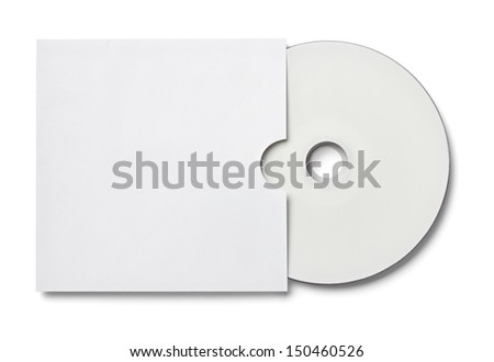 blank white dvd and envelope on white background with clipping path - stock photo