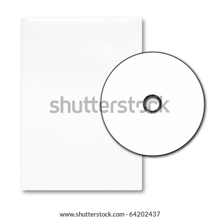 Blank white DVD case and disc on white background . - stock photo