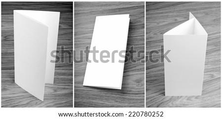 blank white folding paper flyer, identity design, corporate templates, company style - stock photo