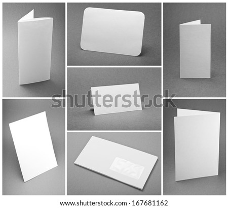 blank white folding paper flyer, identity design, corporate templates, company style, set of booklets - stock photo