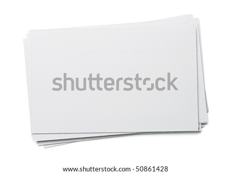 Blank white index card isolated on white. - stock photo
