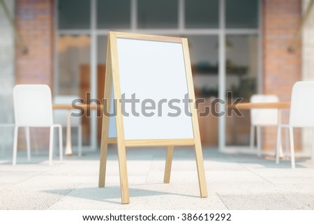 Blank white menu stand on cafe exterior background. Mock up, 3D Render - stock photo