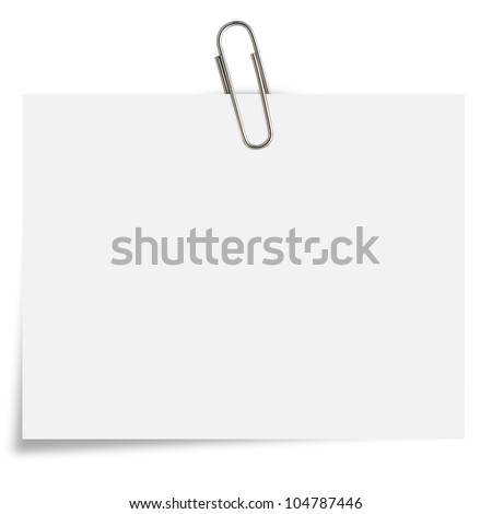 blank white Notepaper with paperclip on white background. - stock photo