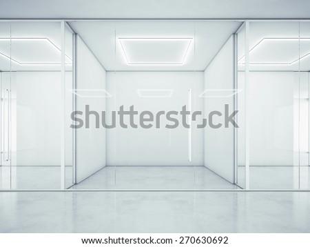 Blank white office interior. 3D rendering - stock photo