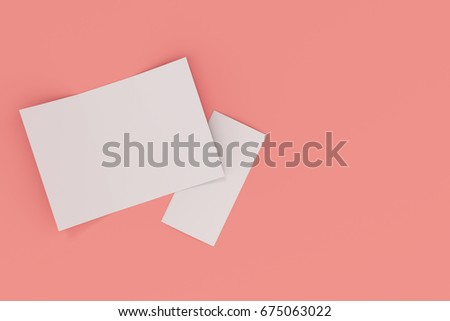 Blank white open three fold brochure mockup on red background. Open and closed leaflet or booklet template. 3D rendering illustration