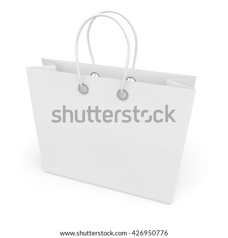 Blank white package with handles small size for goods and products. Isolated white background. 3D illustration