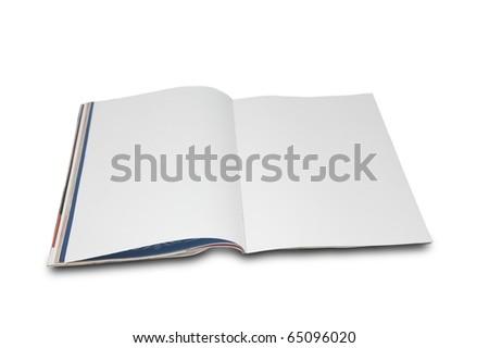 Blank white page magazine isolated on white background - stock photo