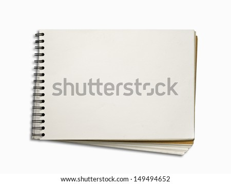 Blank White Page of Note Book Horizontal on White Background and Shadow with Path - stock photo
