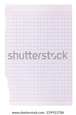 Blank white paper background - blue grid pattern