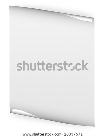 blank white paper background with page curl