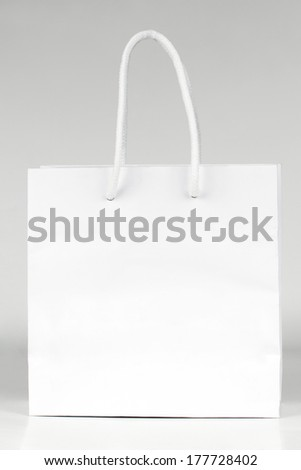 Blank white paper bag - stock photo