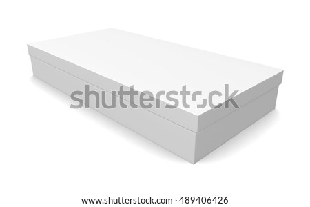 Blank white paper box isolated on white background. 3d render