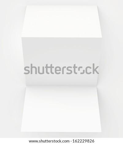 blank white paper folded twice - stock photo