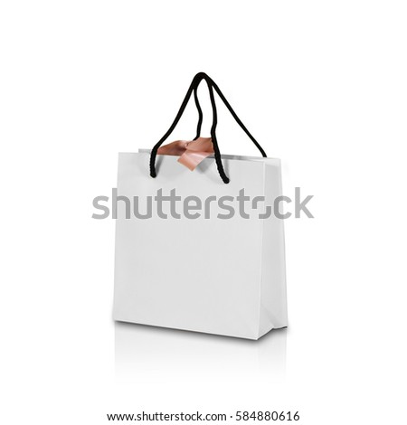 Blank white paper gift bag bow 580700785 shutterstock blank white paper gift bag with a bow mock up isolated on white background empty negle Image collections