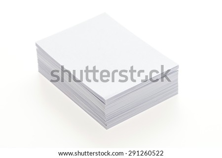 Blank white paper isolated on white background