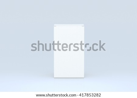 Blank white paper packaging on light background. Mock up, 3D Rendering - stock photo