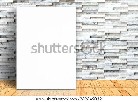 Blank white paper poster on plank wooden floor and pattern marble wall,Template mock up for adding your design - stock photo