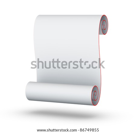 Blank White Paper Scroll - stock photo