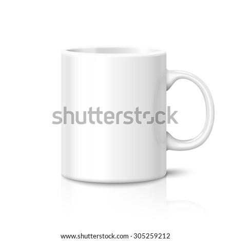 Blank white photorealistic cup isolated on white background with reflection, for branding and your design.  - stock photo