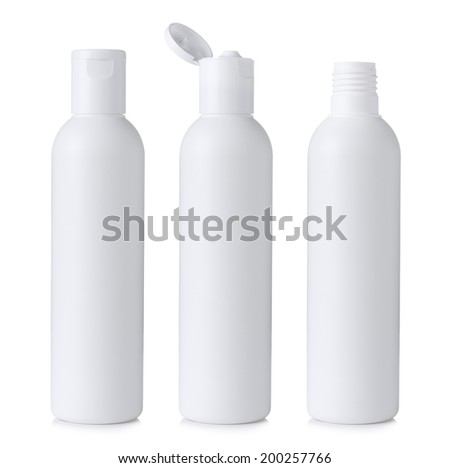 Blank white plastic cosmetics or shampoo bottle closed, open and without cap, isolated on white background - stock photo