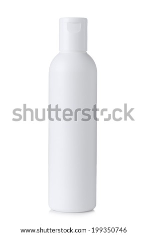 Blank white plastic cosmetics or shampoo bottle isolated on white background - stock photo