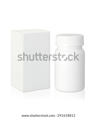 Blank white plastic medicine bottle and blank paper package box isolated on white background with clipping path - stock photo
