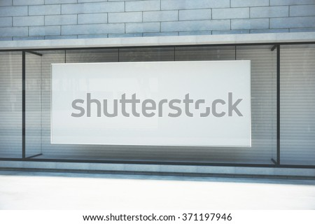 Blank white poster in the window on sunny empty city street, mock up 3D Render - stock photo