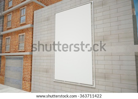 Blank white poster on grey brick wall on the city street, mock up - stock photo