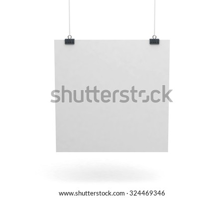 Blank white presentation board or sign mock-up isolated on clean white background